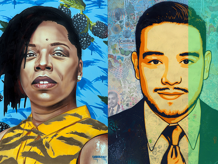 These portraits of activists were created for the exhibit UCLA: Our Stories, Our Impact.