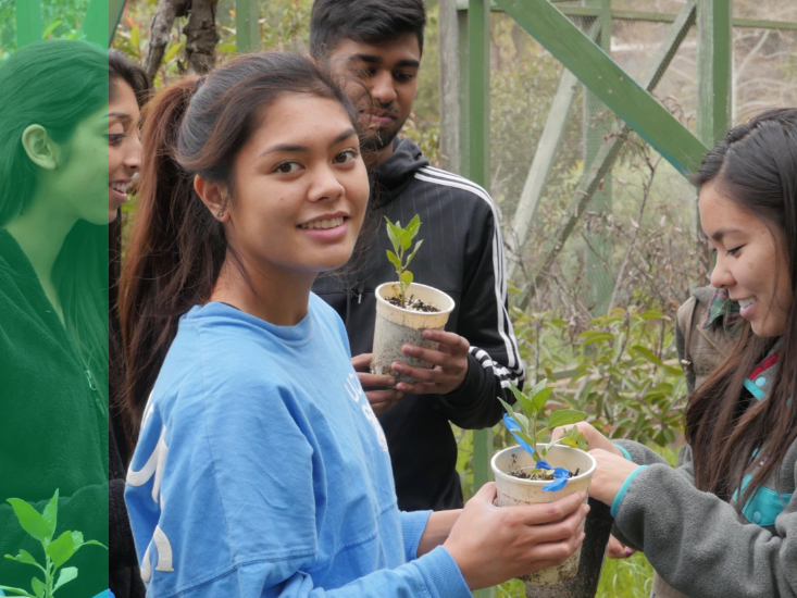 A student volunteer working with plants smiles at the camera.