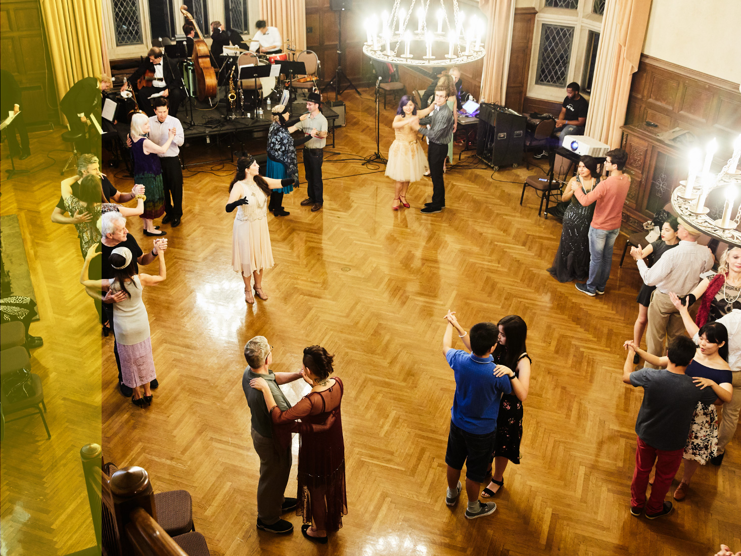 The Historical Ballroom Dance Club performs in a hall.