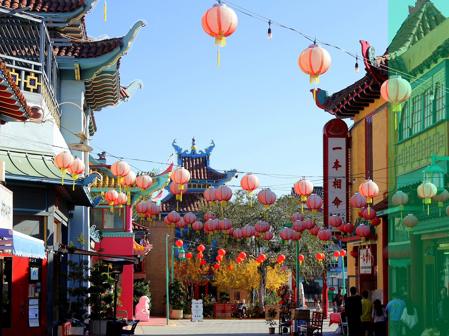 L.A.'s colorful Chinatown pops against bright blue skies.