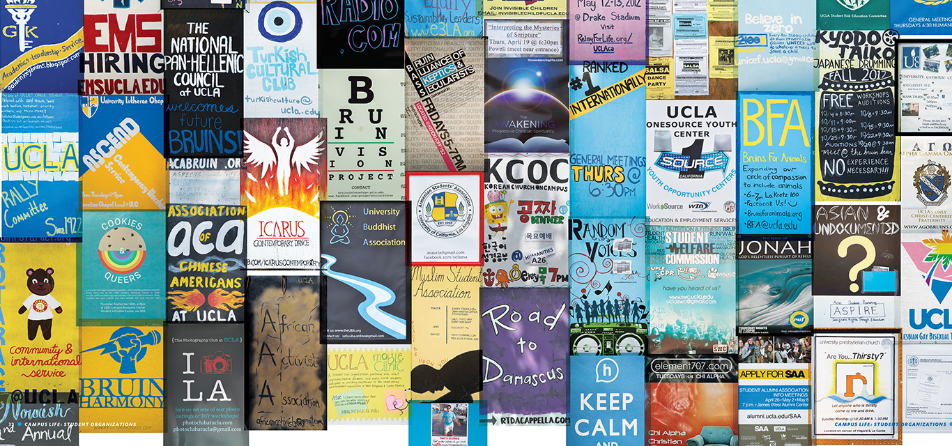 A wide variety of actual posters for student clubs and organizations fill this photo collage.