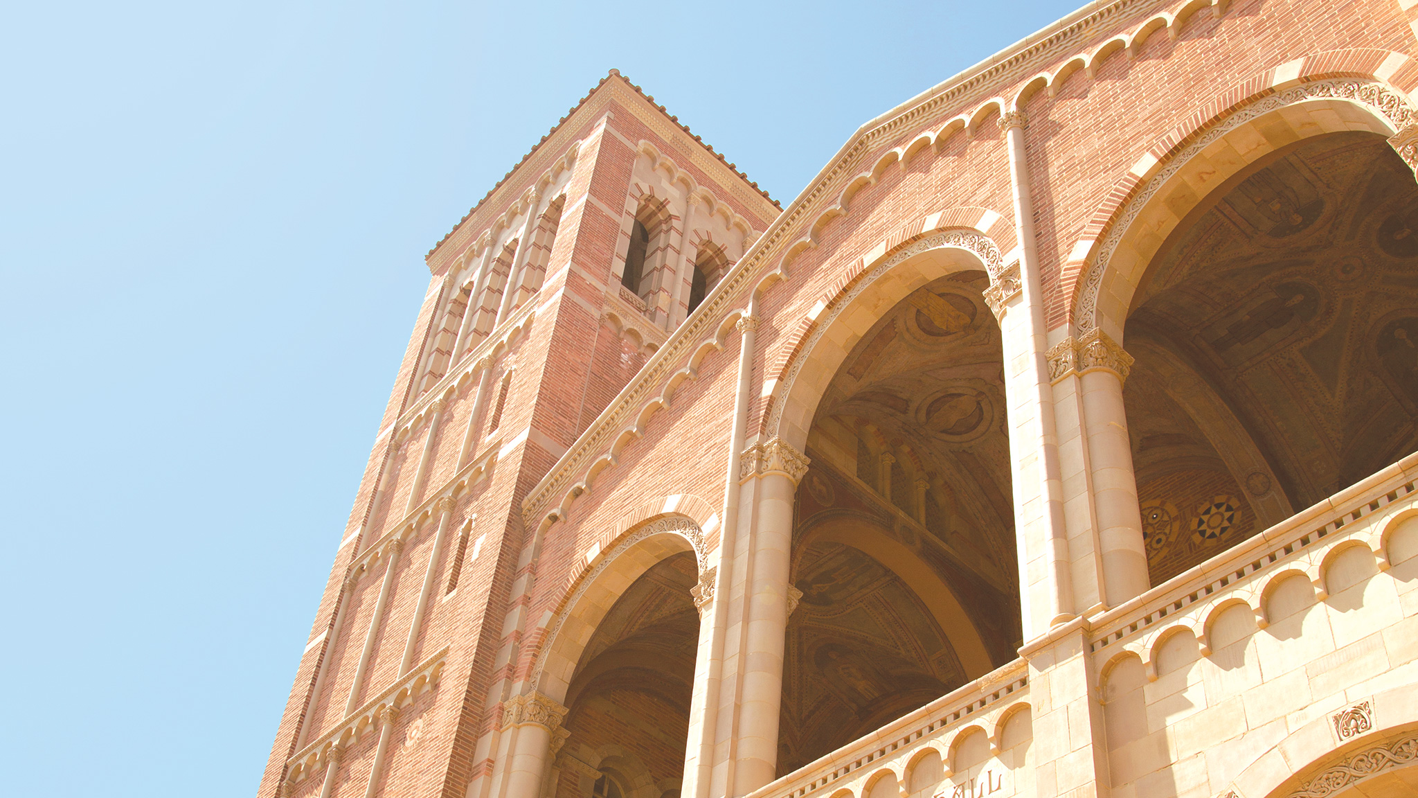 Royce Hall, one of UCLA's four original buildings, basks in the sunlight.