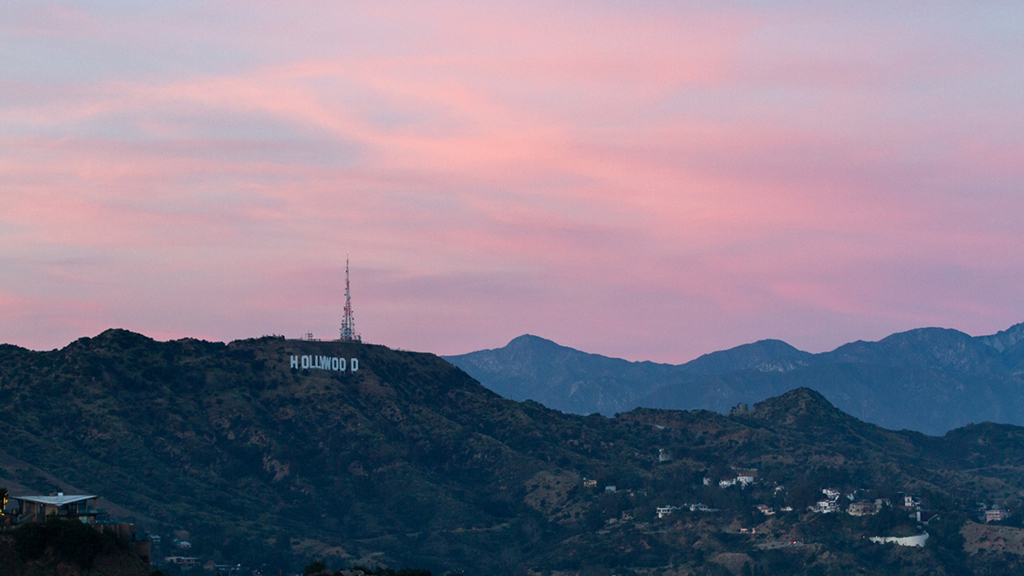 The Hollywood Sign can be seen by the light of a gorgeous sunset.