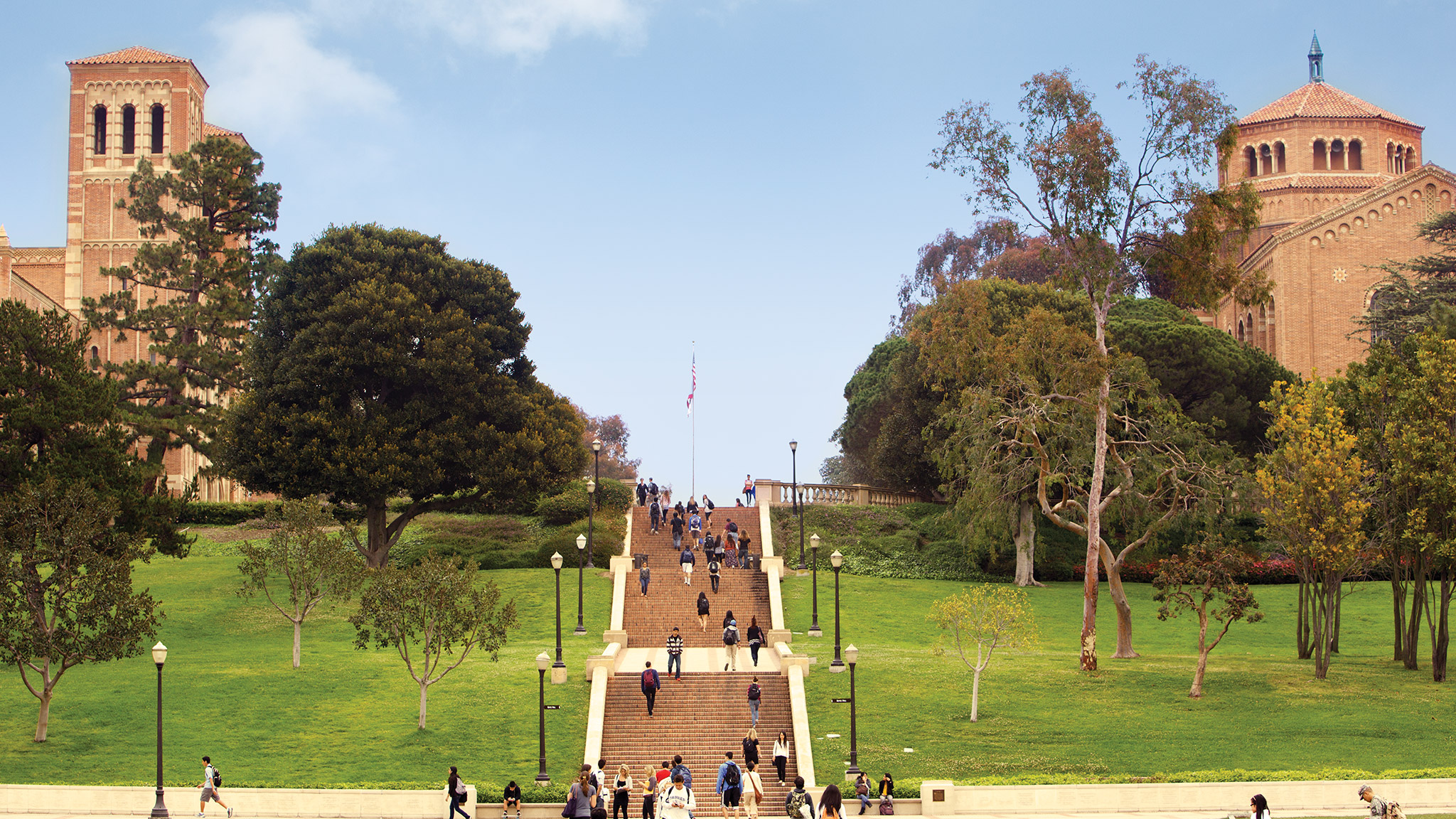 Students make their way up Janss Steps, which served as the original entrance to UCLA.