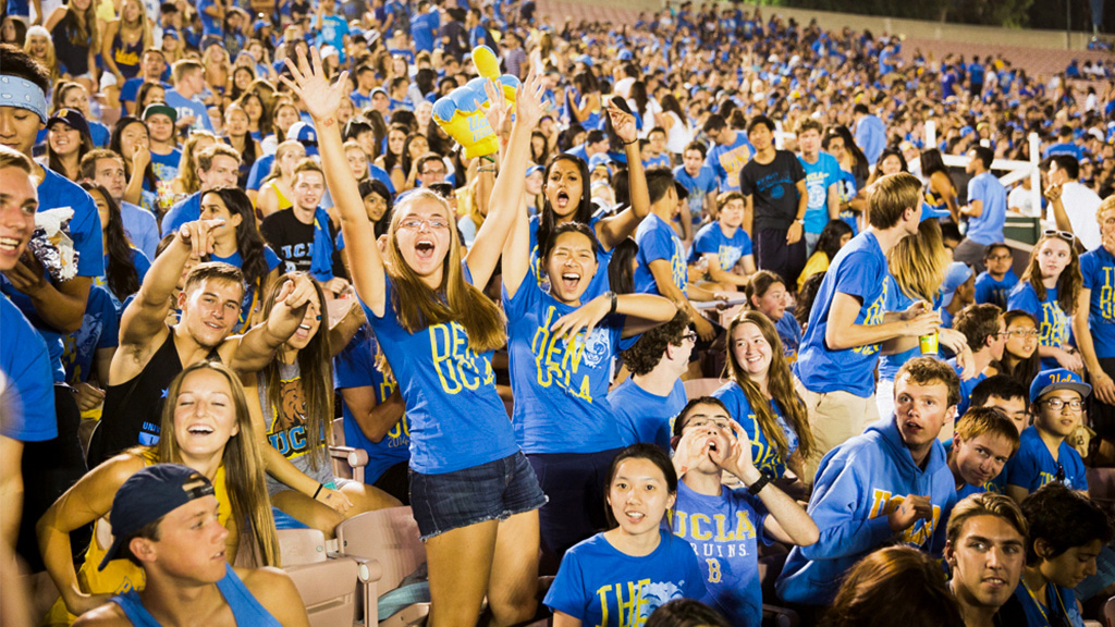 Bruins cheer on UCLA Football at the Rose Bowl.