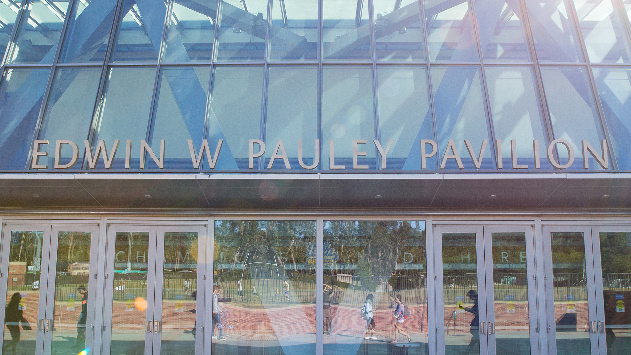 Pauley Pavilion, UCLA's renowned venue for sporting events, concerts and more, reflects the sunlight.