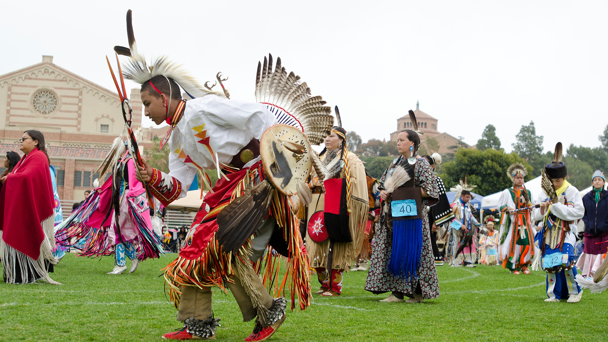 American Indian tribes participate in the annual Pow Wow.